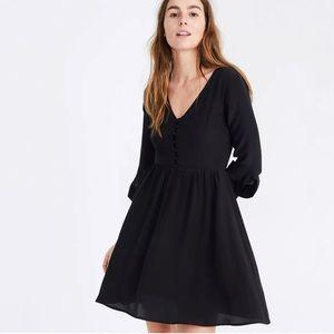 Madewell Silk Moonblossom Ruffle-Sleeve Dress